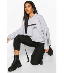 woman graphic oversized sweatshirt, grey marl