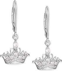 disney cubic zirconia princess tiara drop earrings in sterling silver