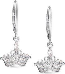 disney cubic zirconia princess tiara drop earrings in sterling silver