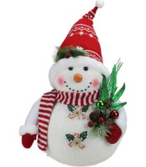 """northlight 20"""" alpine chic sparkling snowman with nordic style santa hat christmas decoration"""