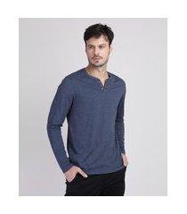 camiseta masculina com botões gola v manga longa azul marinho
