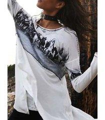 camicetta a maniche lunghe patchwork stampa vintage per donna