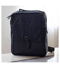 men's leather messenger bag, 'out of office in black' (mexico)