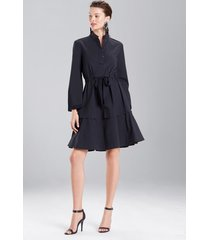 cotton poplin mandarin dress, women's, black, size 2, josie natori