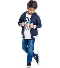 jaqueta com capuz infantil menino milon azul - azul - menino - algodã£o - dafiti