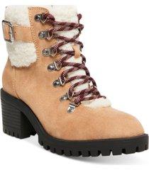 madden girl hayess faux-fur lug sole hiker booties