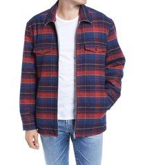 men's blanknyc five o'clock shadow slim fit plaid reversible shirt jacket, size x-large - blue