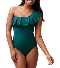 tommy bahama women's one-shoulder one-piece swimsuit - caledon sea green - size 12
