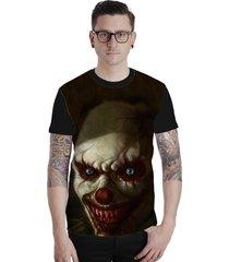 camiseta lucinoze camisetas manga curta creepy clown preto