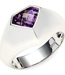effy men's 14k white gold & amethyst ring - size 10