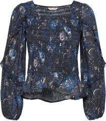 doreen smock blouse blouse lange mouwen blauw odd molly