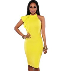 women's one shoulder, ruffles sleeve, knee length, pencil, party, yellow, dress