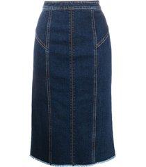 alexander mcqueen panelled mid-length denim skirt - blue