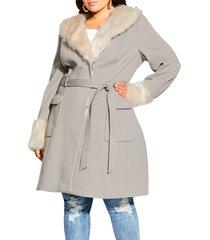 plus size women's city chic make me blush belted coat with faux fur trim, size medium - grey