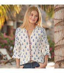 rosalie block print blouse