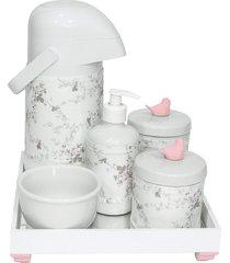 kit higiene espelho completo porcelanas, garrafa e capa passarinho rosa quarto bebê menina