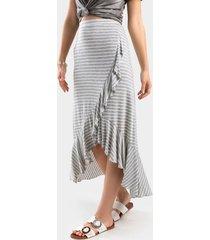 debrrah striped midi skirt - gray