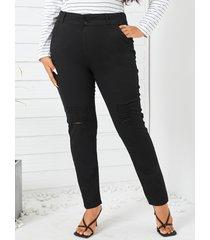 bolsillo de talla grande diseño recortado pantalones