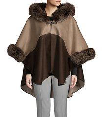 made for generation two-tone fox fur-trim hooded cape