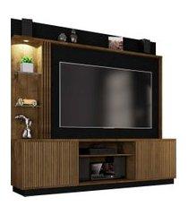 estante atlanta p/ tv até 65 polegada madeira rústica/preto móveis bechara