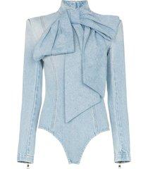 balmain pussybow denim bodysuit - blue