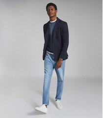 reiss hollow - wool cotton blend slim fit blazer in navy check, mens, size 46