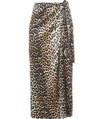 ganni lopard skirt