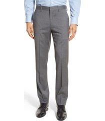 men's bonobos jetsetter slim fit flat front stretch wool dress pants, size 30 x unhemmed - grey