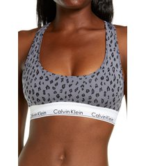 calvin klein modern cotton collection cotton blend racerback bralette, size x-large in pewter at nordstrom