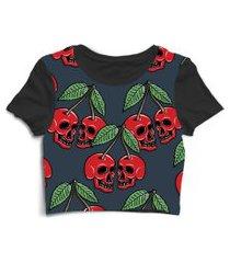blusa blusinha cropped tshirt camiseta feminina fruta caveira skull preto