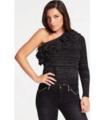 asymetryczny wełniany sweter z falbaną