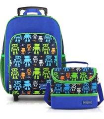 conjunto mochila com rodinhas g e lancheira térmica com 2 compartimentos menino jacki design azul marinho