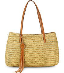 leather strap woven tote