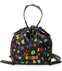 moschino numbers and letters print medium satchel bag