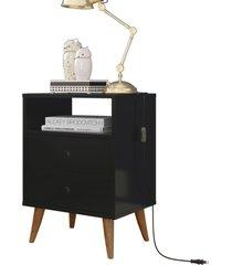 kit 2 mesa de cabeceira retrô domus - preto - rpm móveis