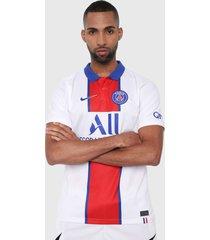 camiseta blanco-rojo-azul nike paris saint-germain de visitante stadium