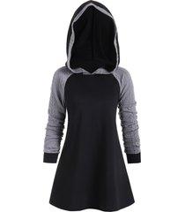 color block raglan sleeves longline hoodie