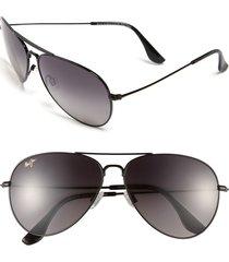 maui jim mavericks 61mm polarizedplus2 aviator sunglasses - glossy black/ neutral grey