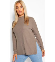 plus split hem tunic top, khaki