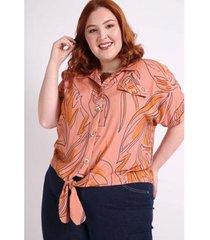 camisa manga curta amarração plus size kauê plus size feminina