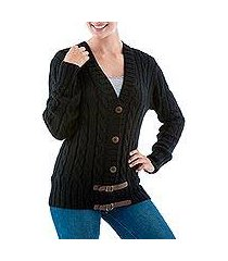 alpaca blend cardigan, 'buckles on black' (peru)