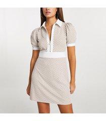 river island womens beige jacquard collared mini dress