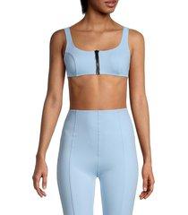 lisa marie fernandez women's jasmine front-zip sports bra - blue fuzzy - size l