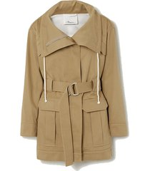 space for giants belted organic cotton-twill jacket