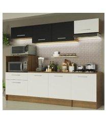 cozinha completa madesa onix 240002 com armario e balcão rustic/branco/preto 5z73 rustic/branco/preto