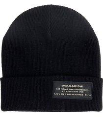 maharishi miltype beanie hats in black cotton