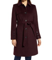 women's sam edelman belted wool blend coat, size 16 - burgundy