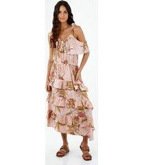vestido de mujer, diseño midi, con cuello en v de tiras, con estampado floral