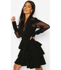 dobby mesh wikkel jurk met mouw laagjes, black