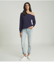 reiss poppy - off-the-shoulder loungewear sweatshirt in navy, womens, size l